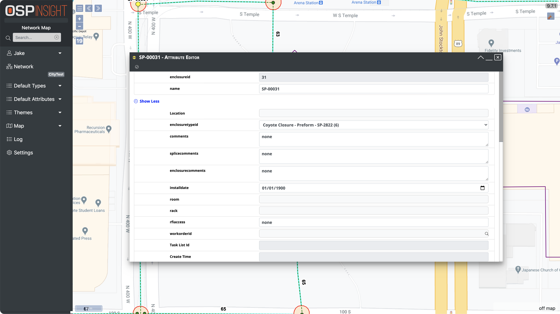 OSPInsight Web - Attribute Editor (Full Screen)